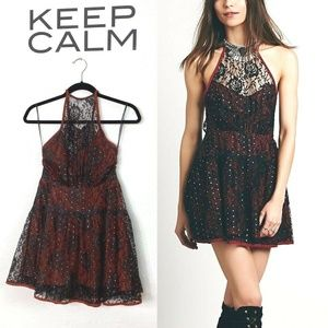 Free People Wish Upon A Star Dress Red Black Lace